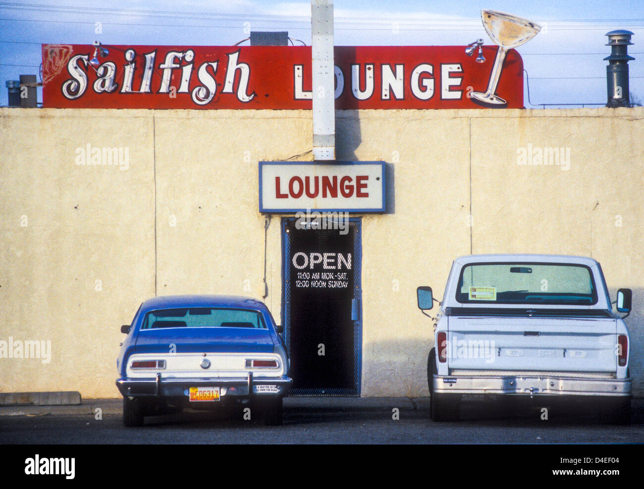 Small-town lounge bar in Grants, New Mexico, USA - Stock Image