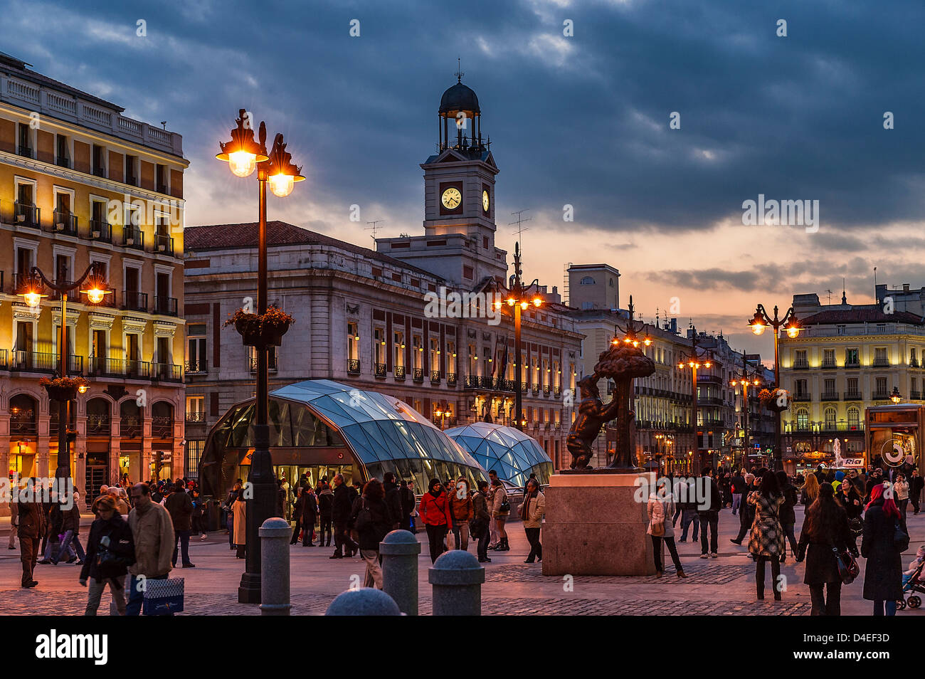 Puerta del Sol nightlife, Madrid, Spain - Stock Image