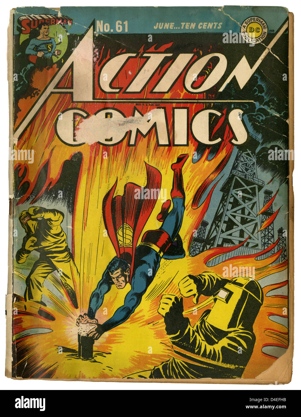 A well-loved copy of Action Comics #61 featuring Superman, from June 1943. Published by DC (Detective Comics). - Stock Image