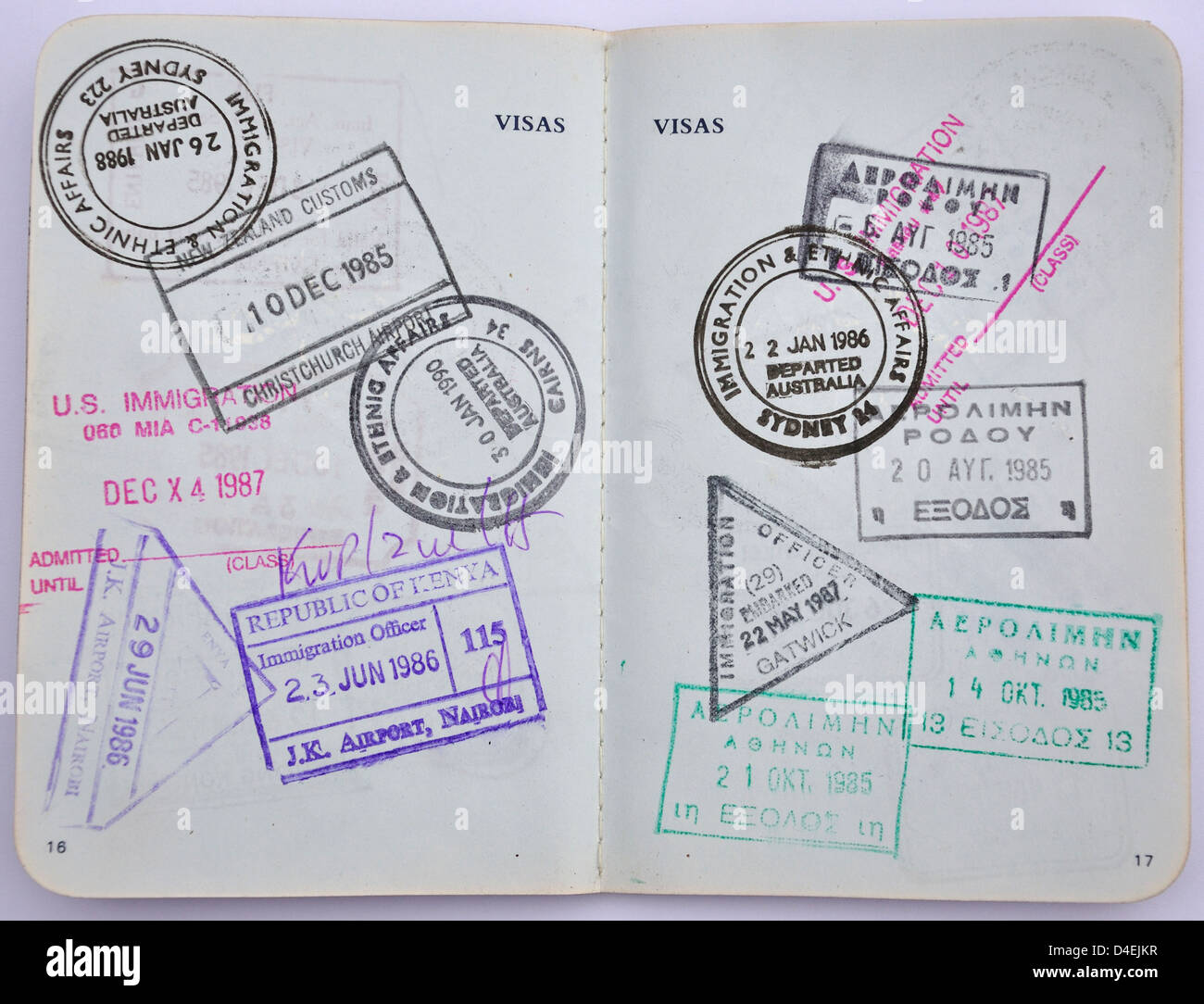 Still Life Of Stamps In A Passport Surrey England United Kingdom