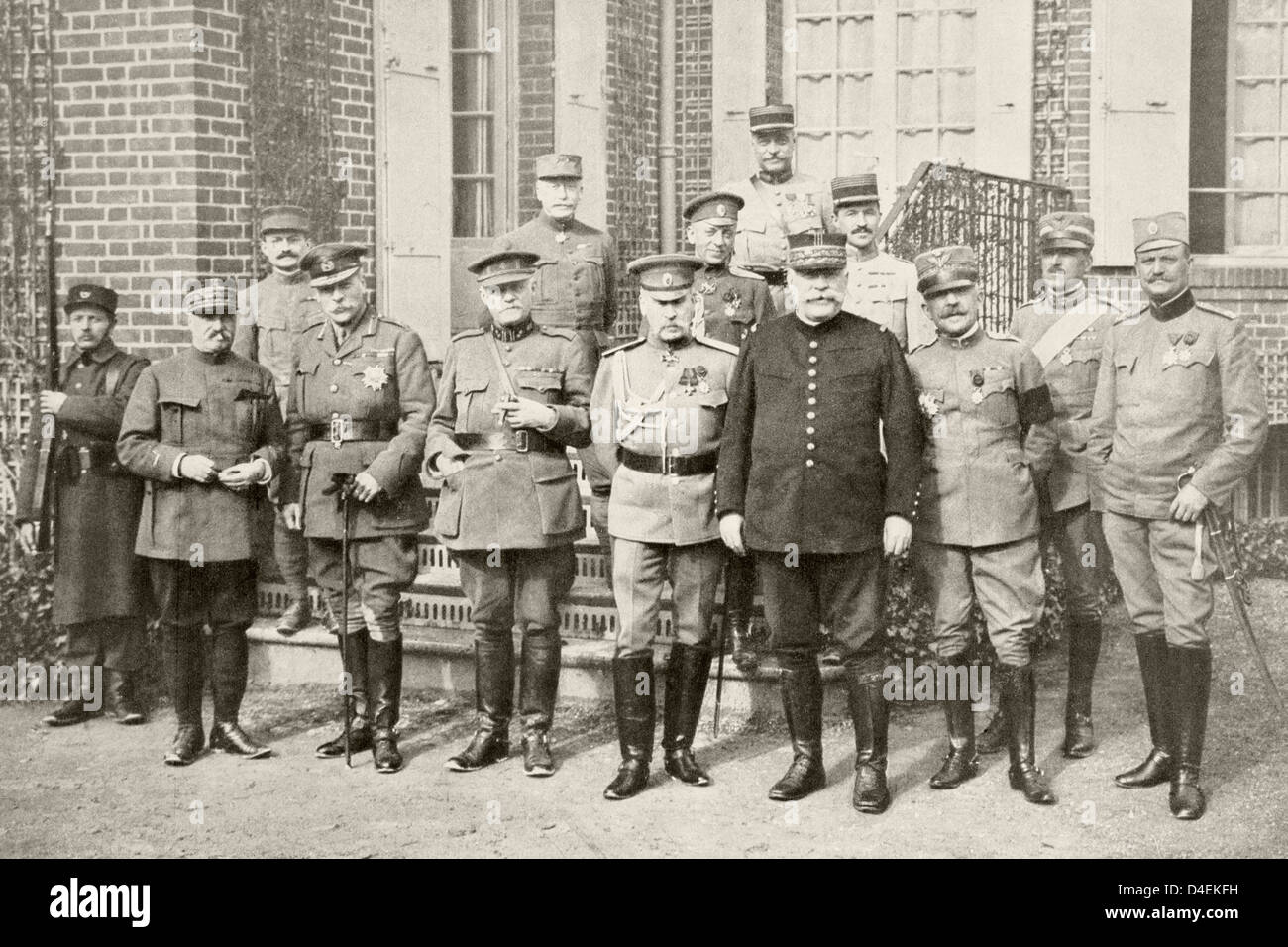 Second reunion Allied Council War March 1916 Front row left right: General Castelnau France Sir Douglas Haig Great - Stock Image