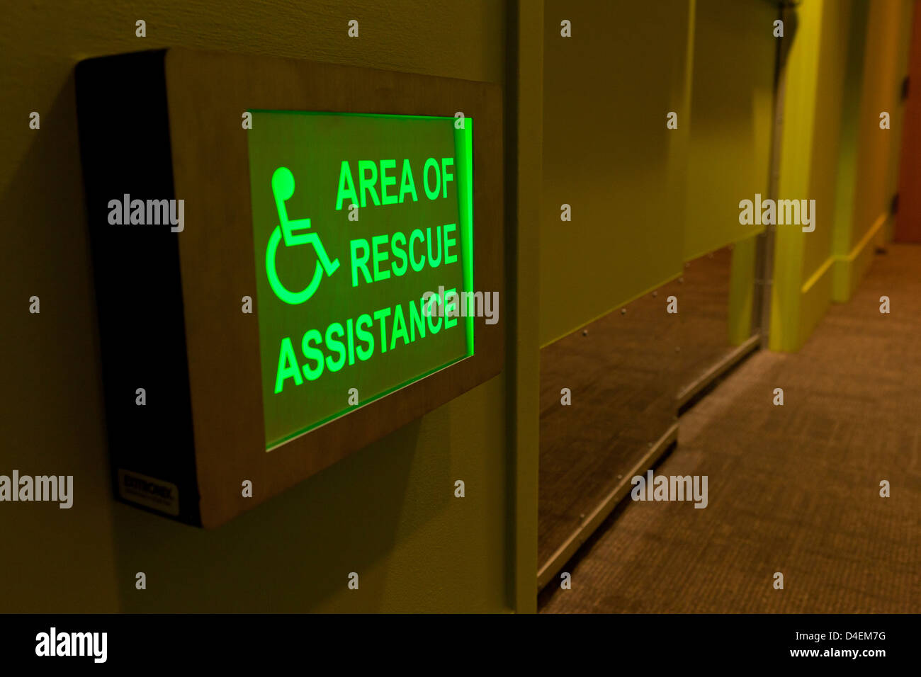 Disabled Rescue Assistance area sign - Stock Image