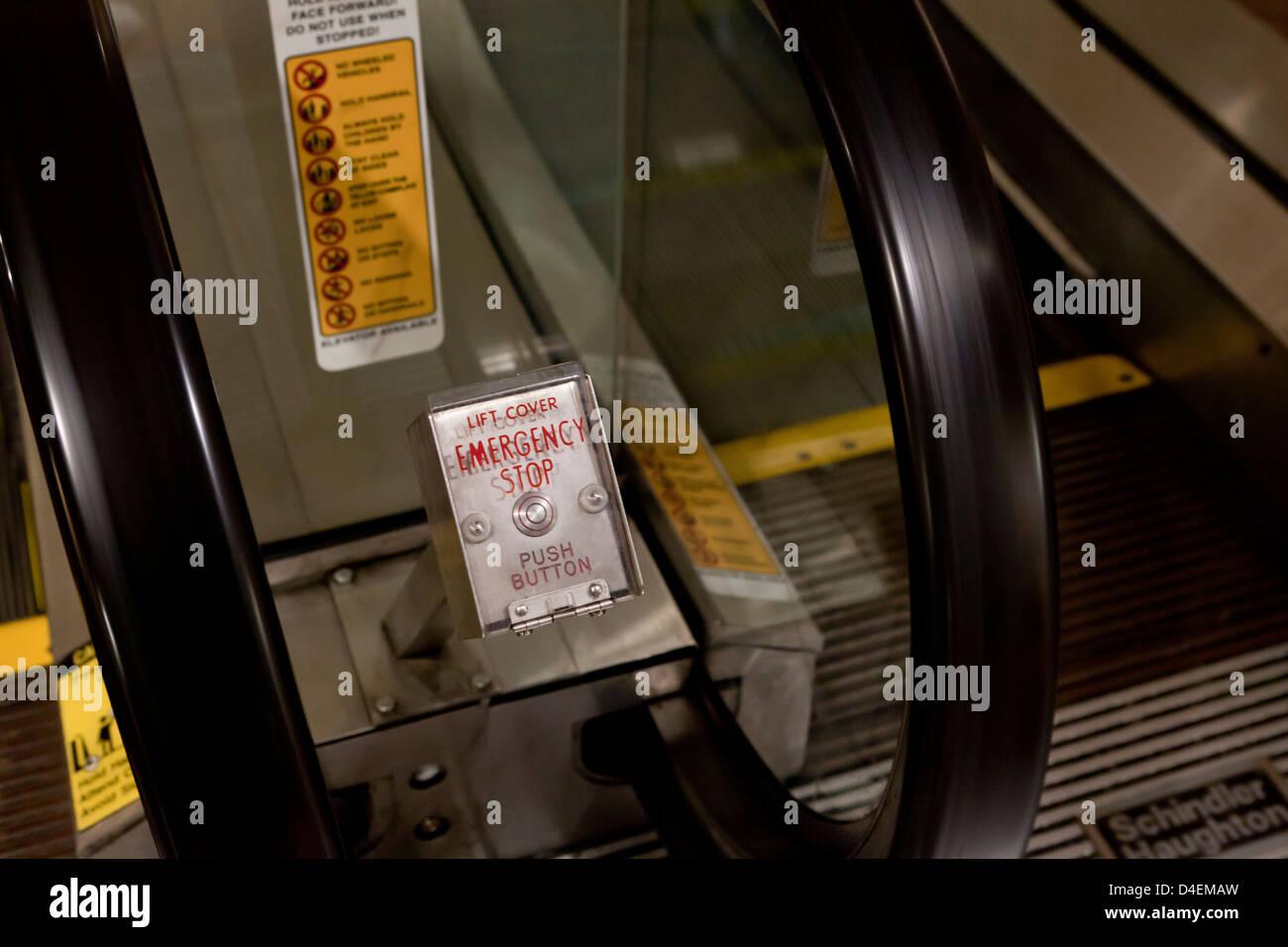 Escalator emergency stop button - Stock Image
