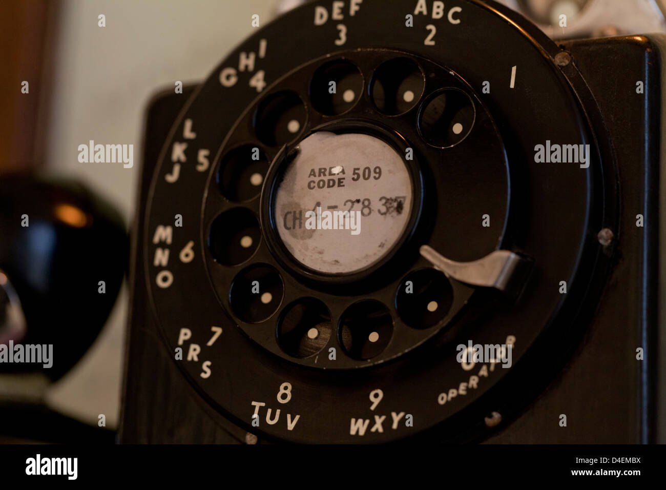 Vintage pay phone dial - Stock Image
