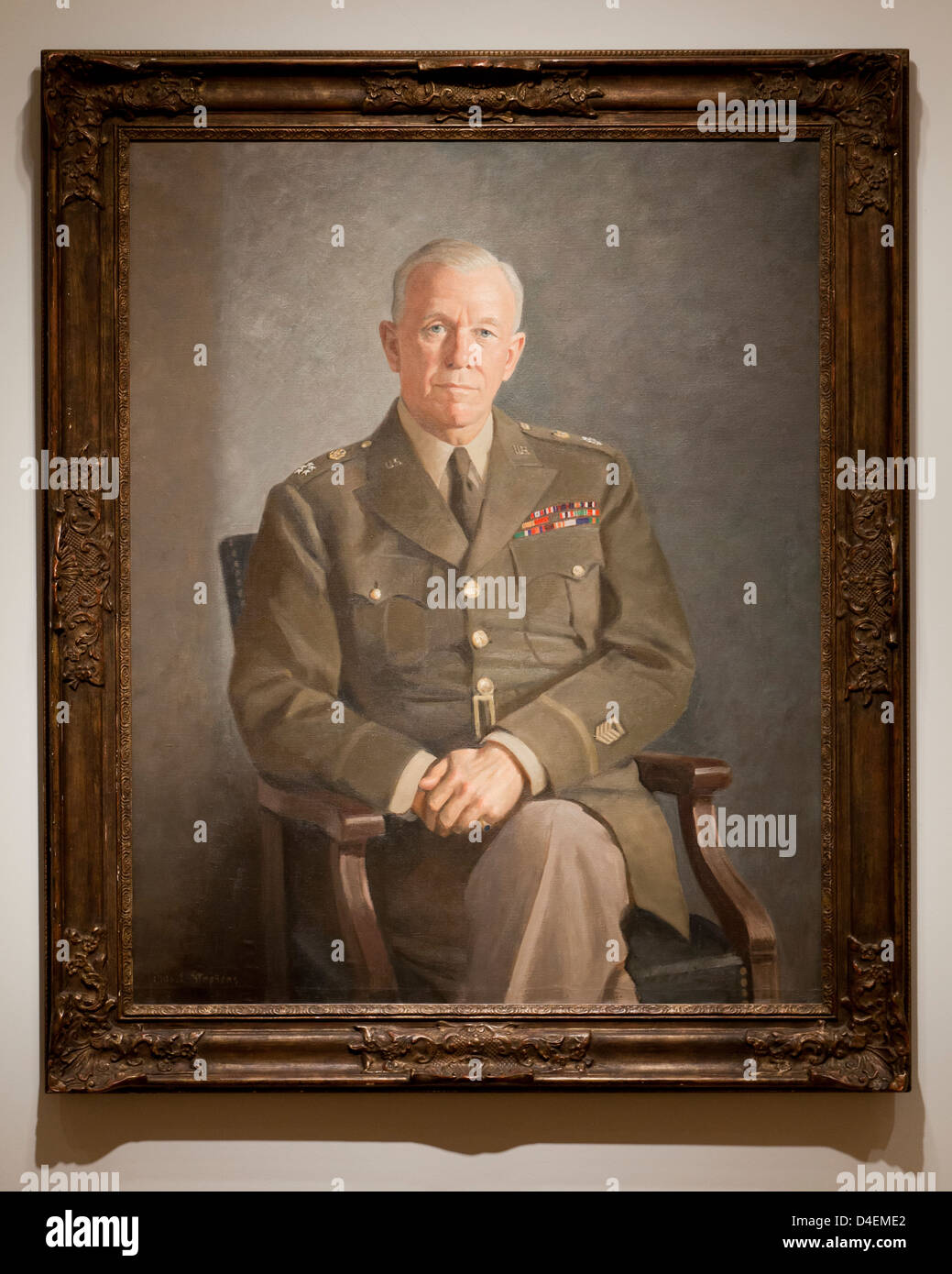 George C Marshall portrait by Thomas E Stephens, 1949 - Stock Image