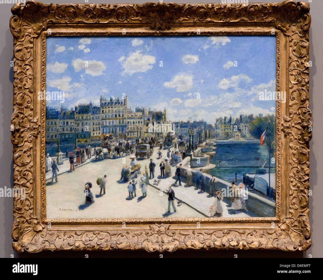 Pont Neuf, Paris by Auguste Renoir, 1871 - USA - Stock Image