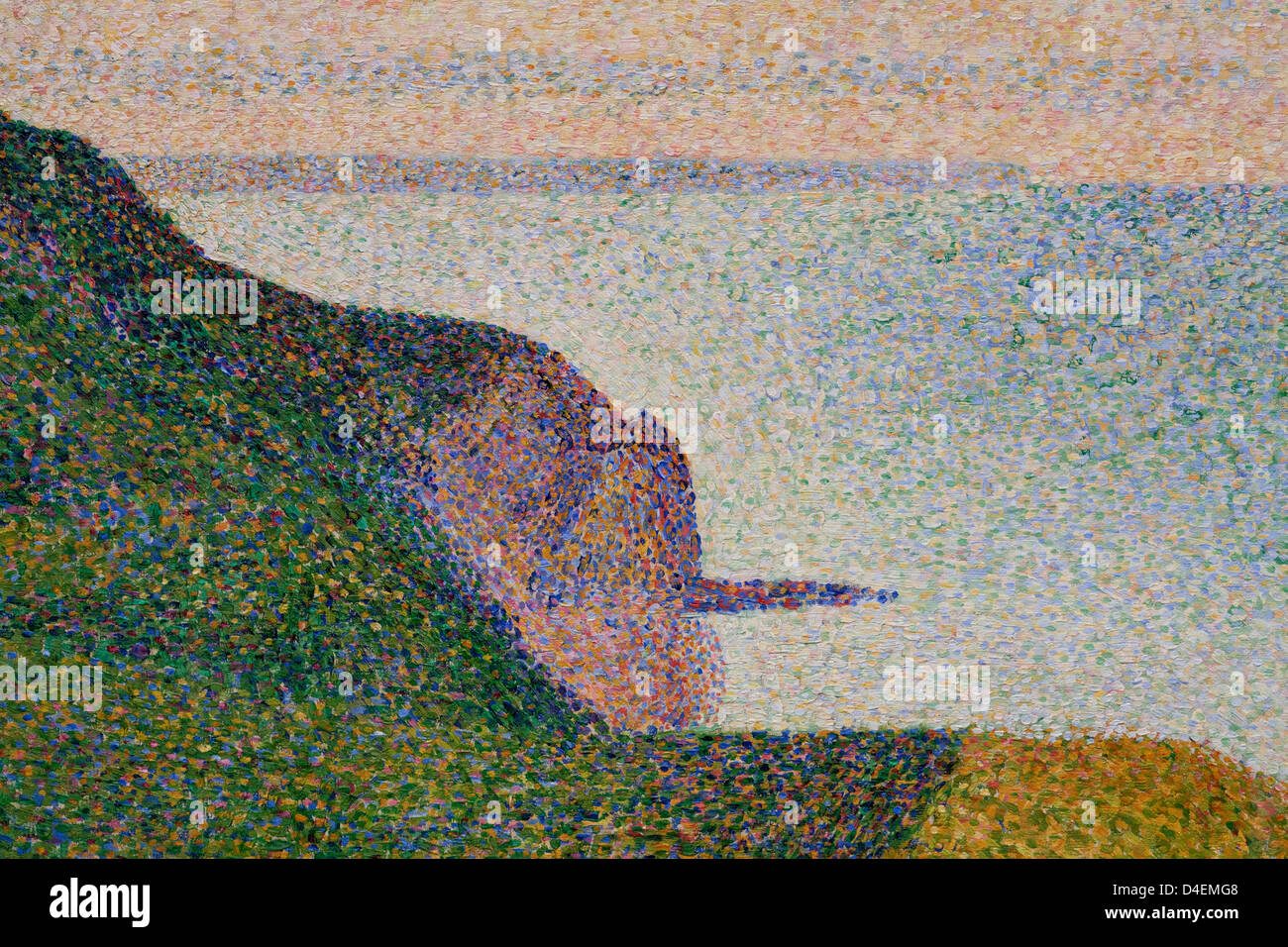 Detail of Seascape at Port-en-Bessin, Normandy by Georges Seurat, 1888 - Stock Image