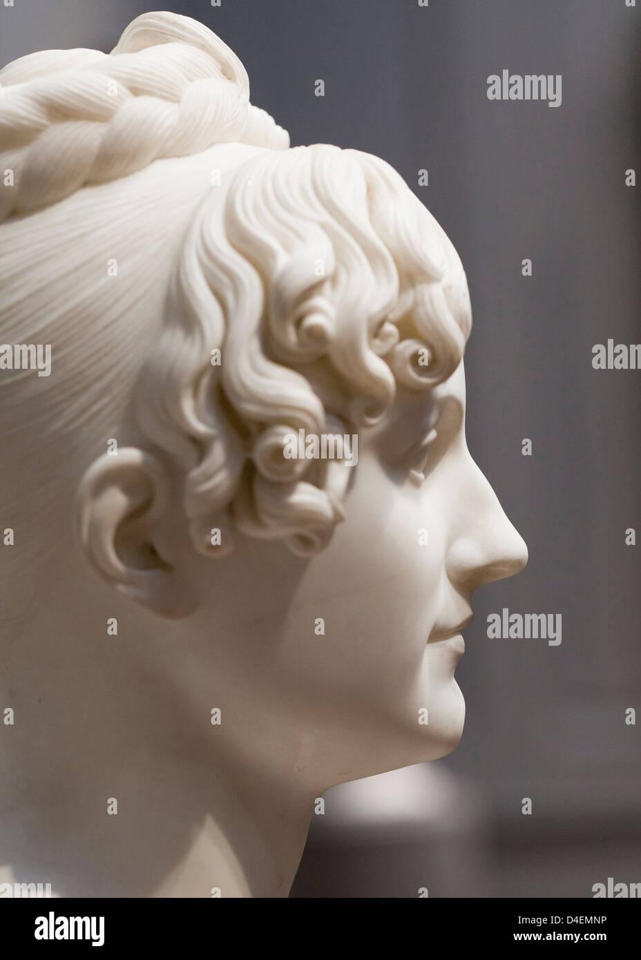 Profile of female portrait marble sculpture Stock Photo
