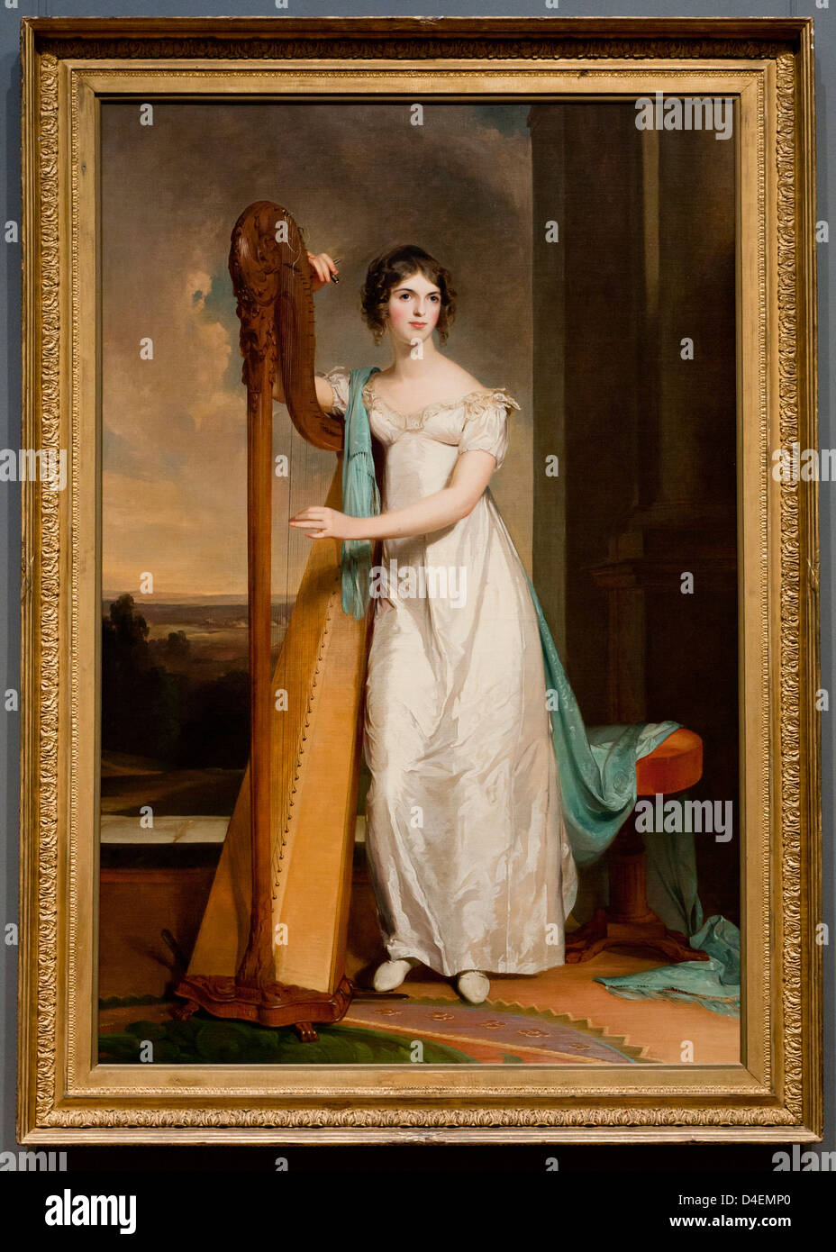 'Lady with a Harp: Eliza Ridgely' by Thomas Sully, 1818 - Stock Image
