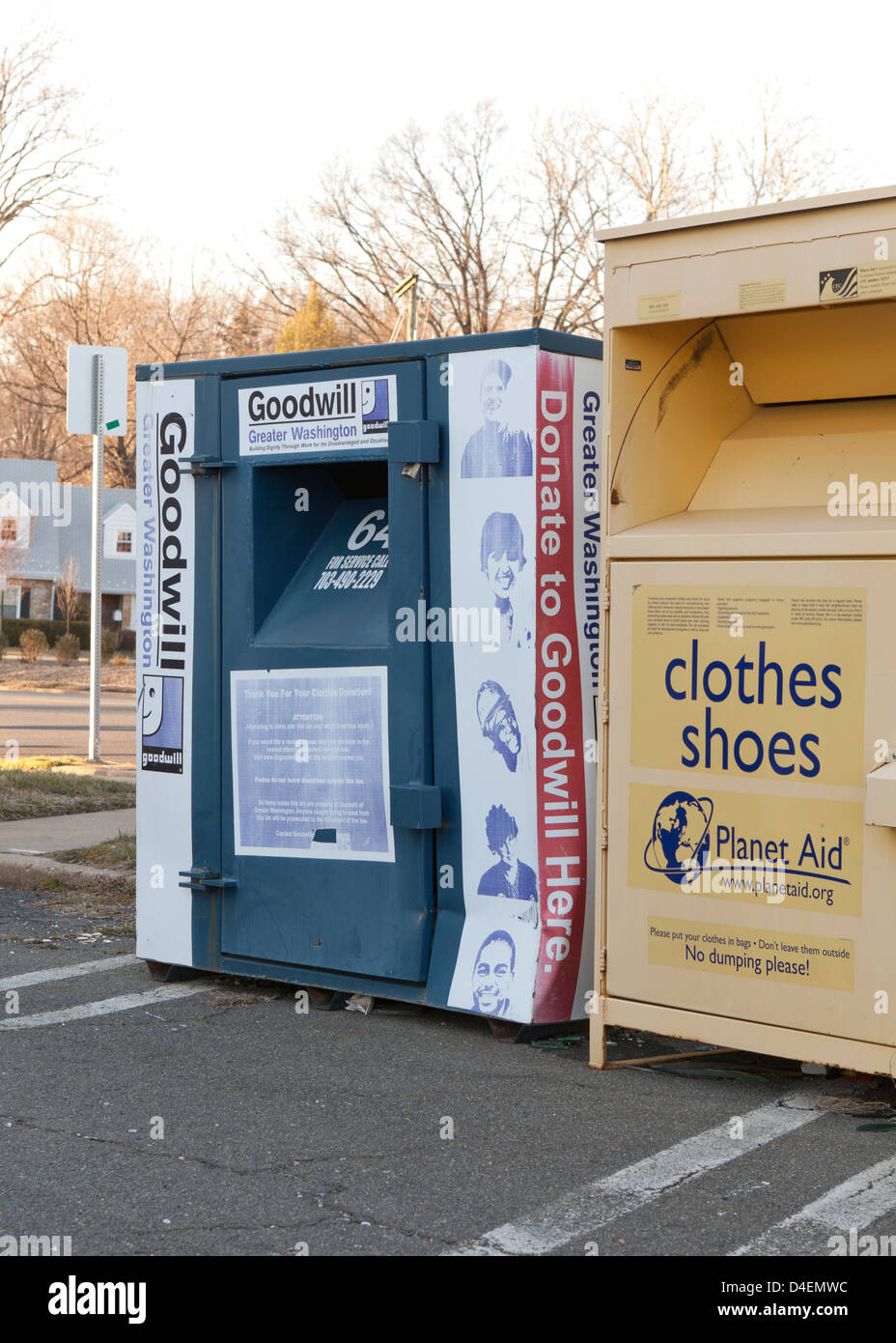 Used clothing donation bins - Virginia USA - Stock Image