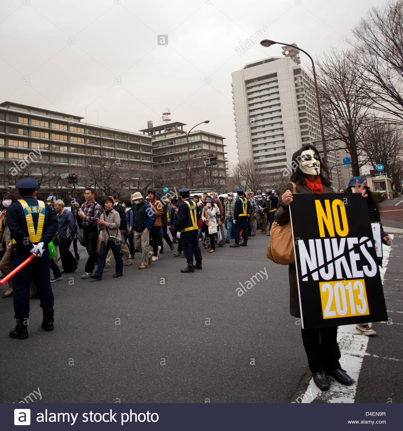 Tens of thousands of protesters march on the Japanese parliament to call for an end to nuclear power in Japan. Stock Photo