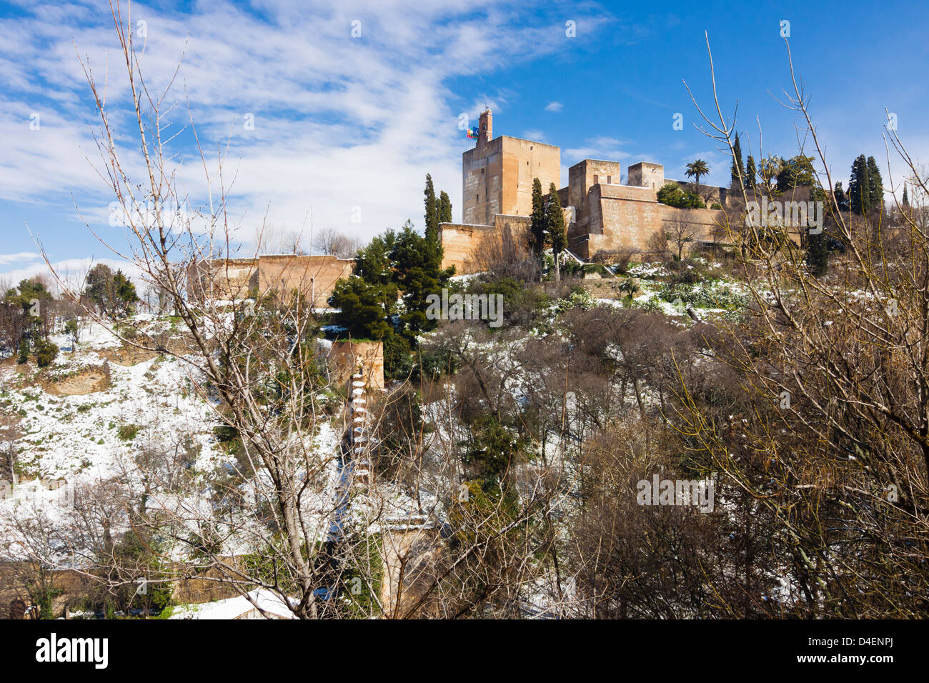 Snowcapped Alhambra palace. Granada, Spain - Stock Image