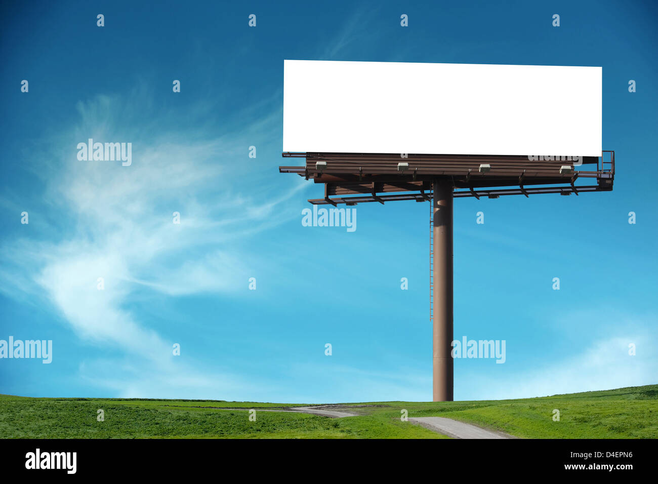 Blank Billboard with Blue Sky - Stock Image