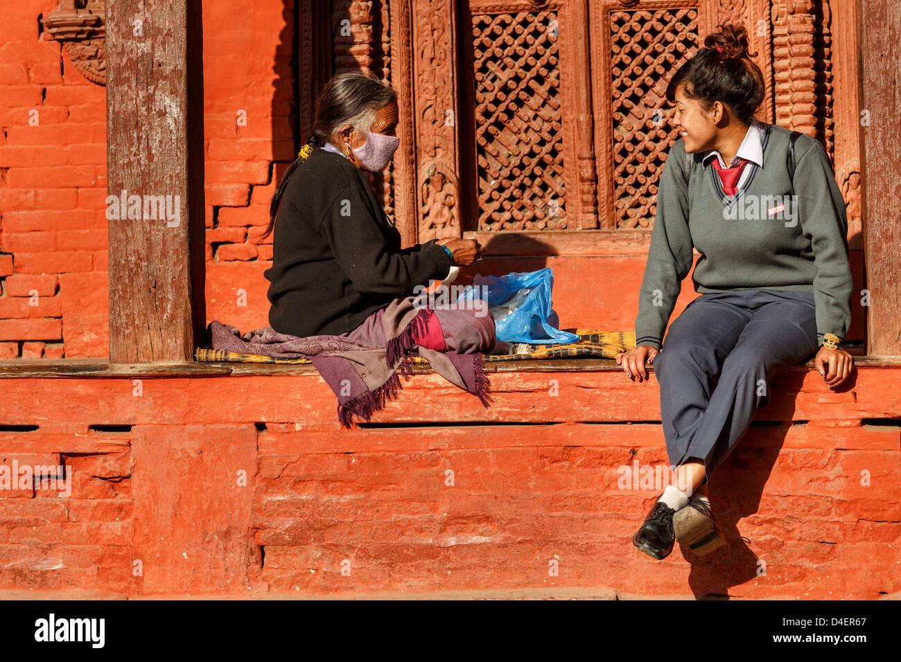 Two generations, Kathmandu, Nepal - Stock Image