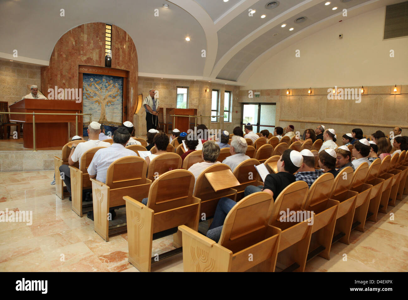 Israel, Tel Aviv, Beit Daniel, Tel Aviv's first Reform Synagogue the prayer hall - Stock Image