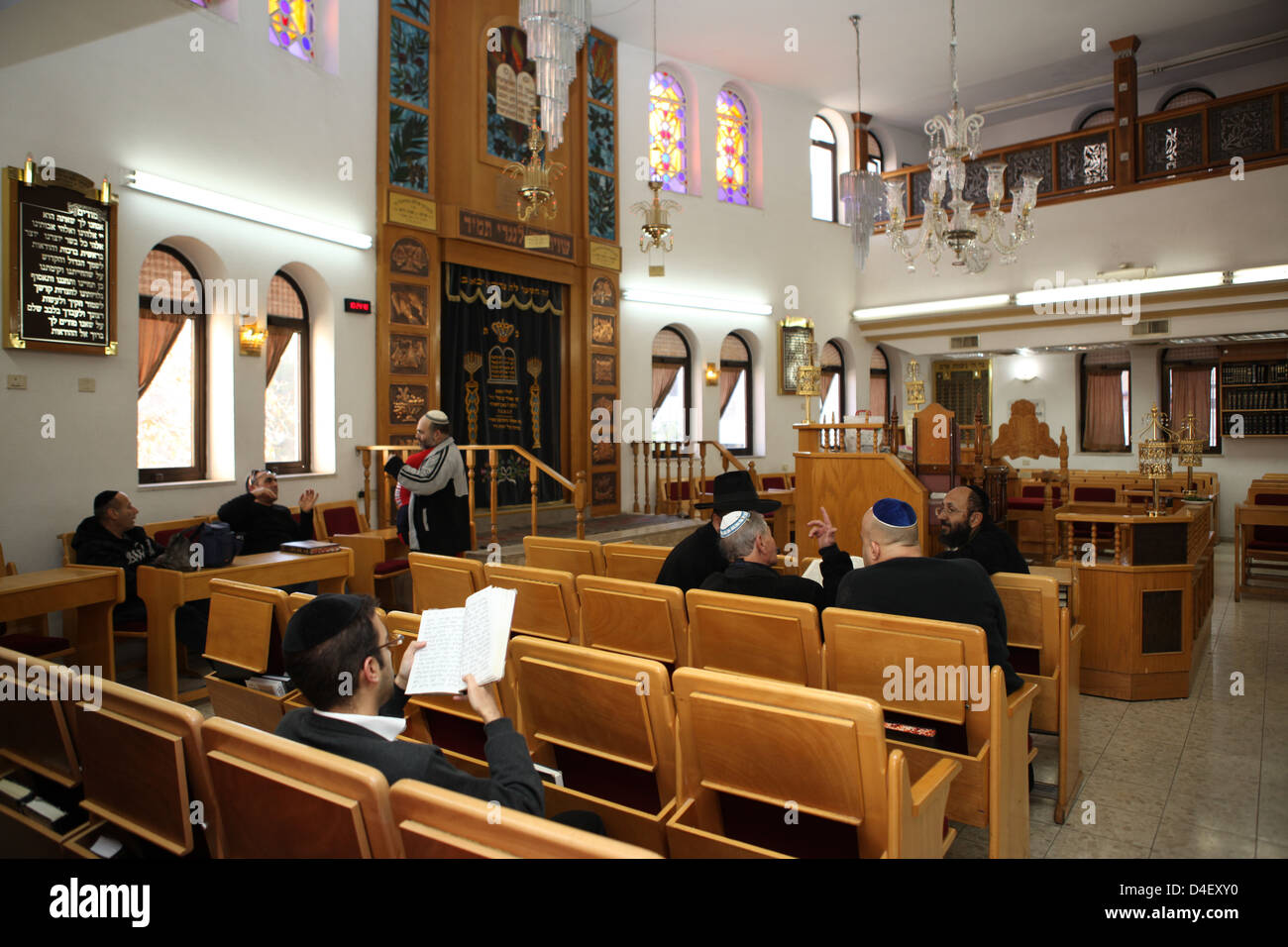 Interior of a synagogue - Stock Image
