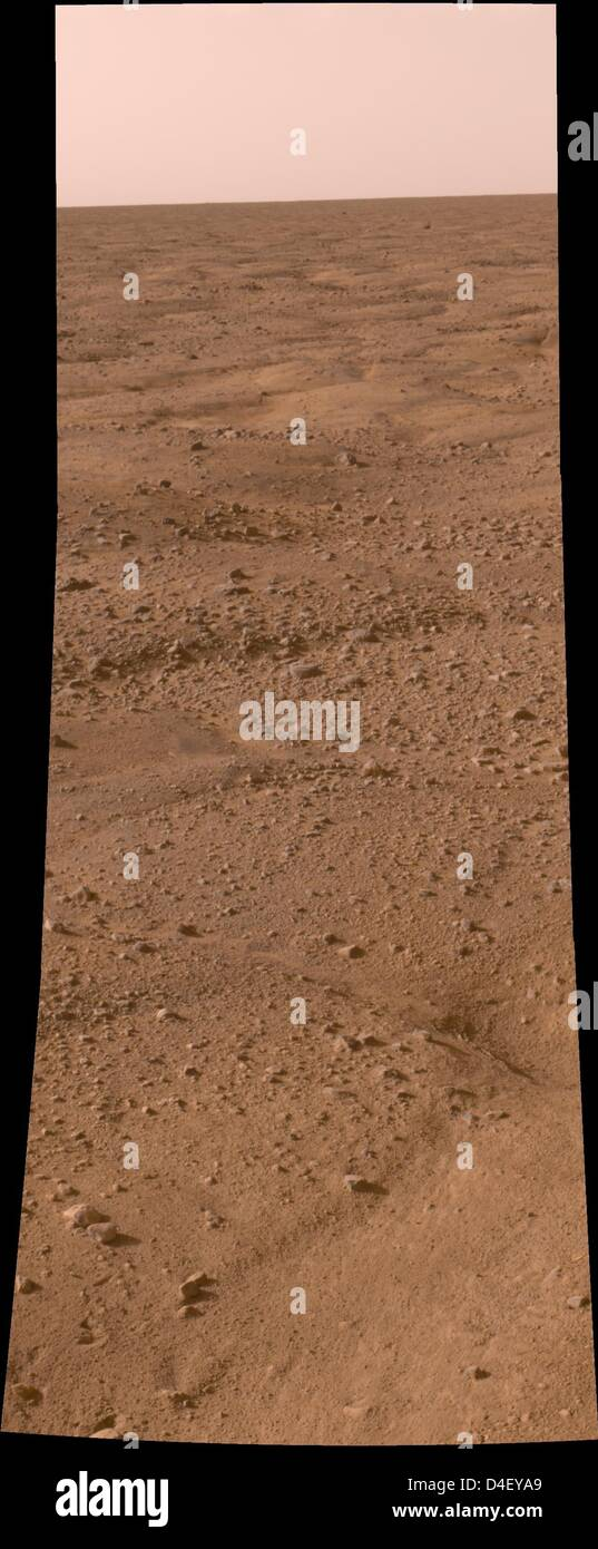 A handout raw image from the Mars Phoenix Lander showing the surface of Mars downlinked to the control room at NASA's - Stock Image