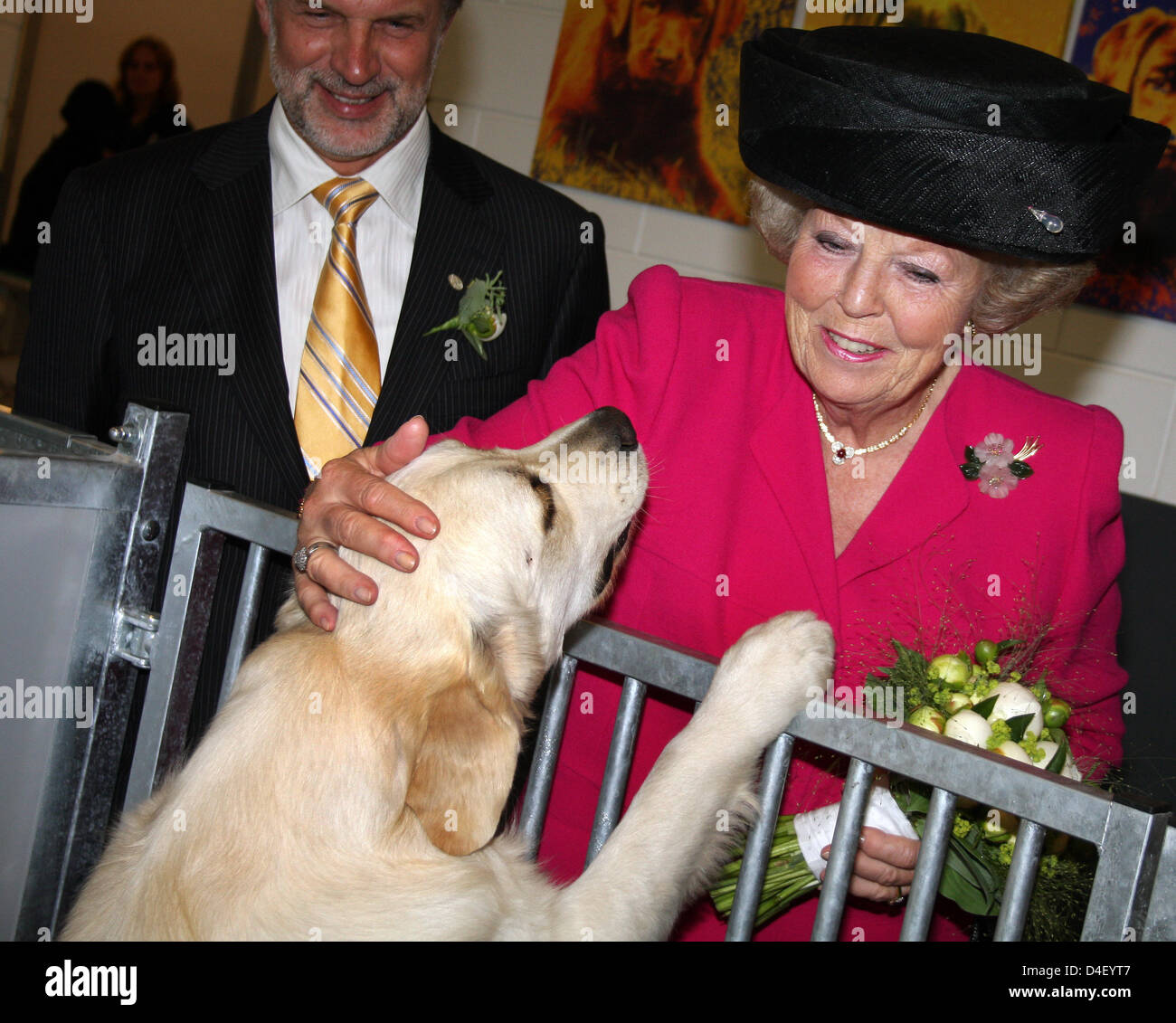 Queen Beatrix af the Netherlands attends the opening of the foundation Hulphond (Help Dogs) in Herpen, Netherlands, - Stock Image