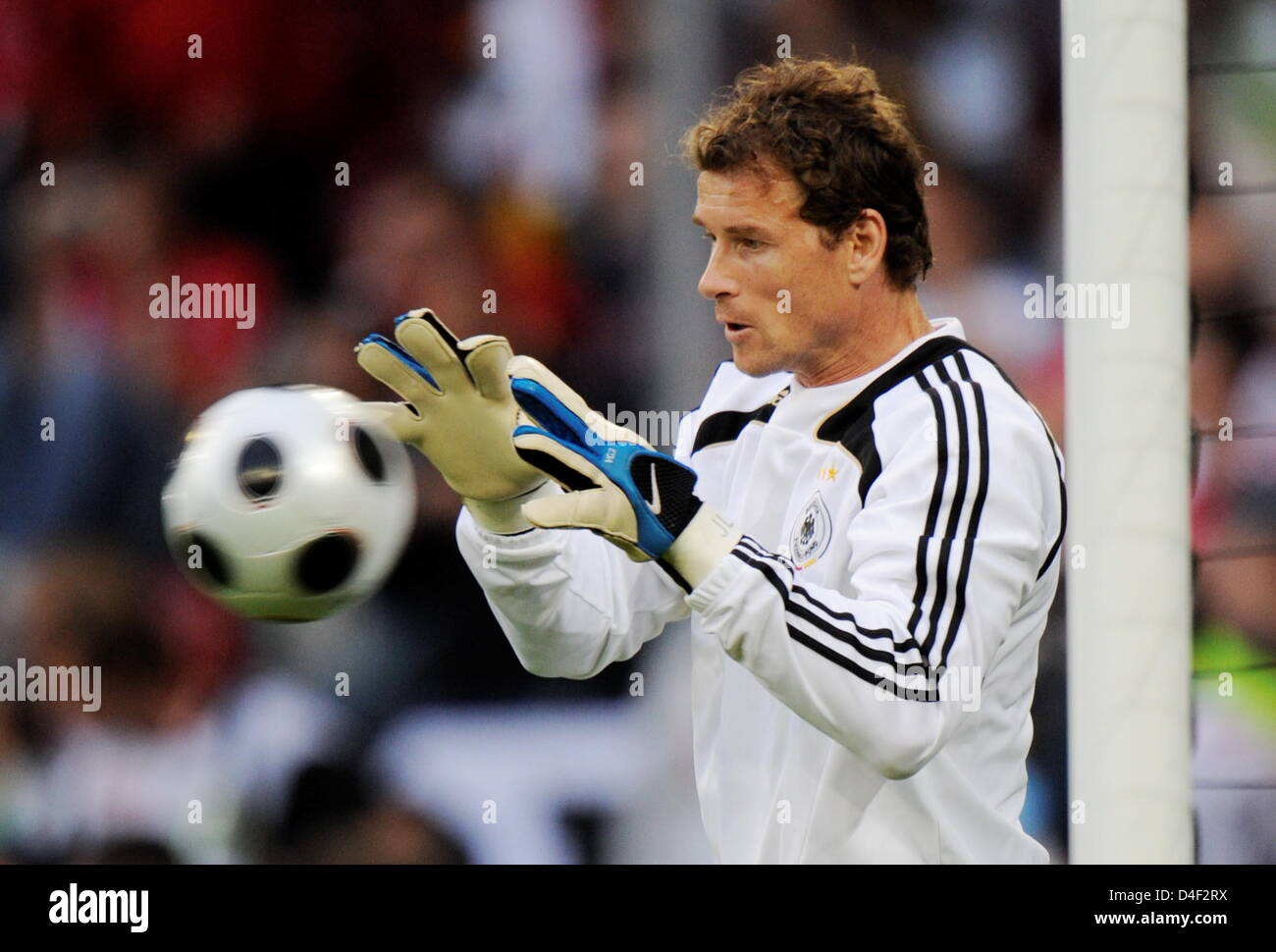 Goalkeeper Jens Lehmann of Germany catches a ball prior the EURO 2008 preliminary round group B match in Woerthersee - Stock Image