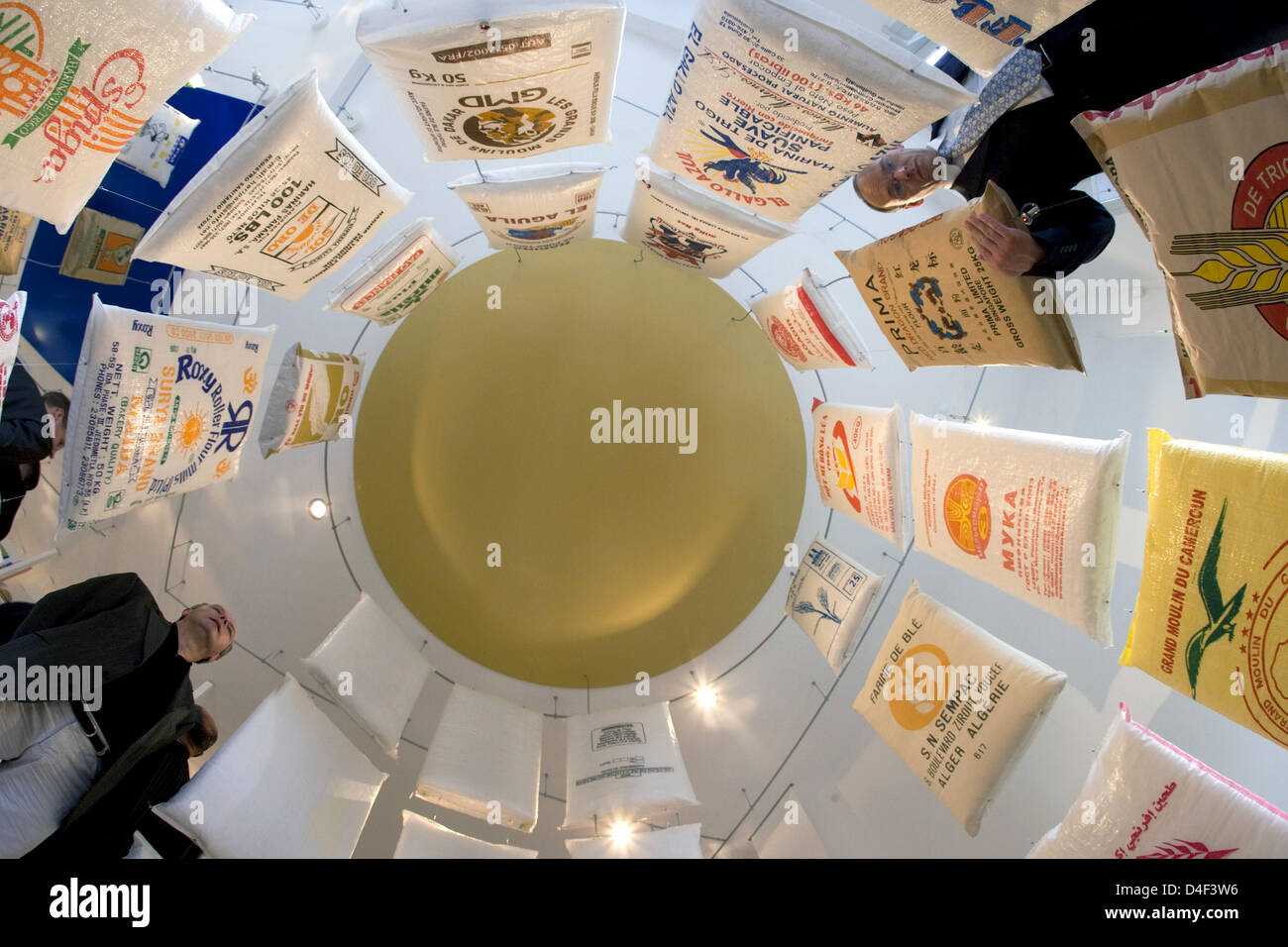 First people visit the new Flour Art Museum in Wittenburg, Germany, 10 June 2008. More than 1,600 flour bags from - Stock Image