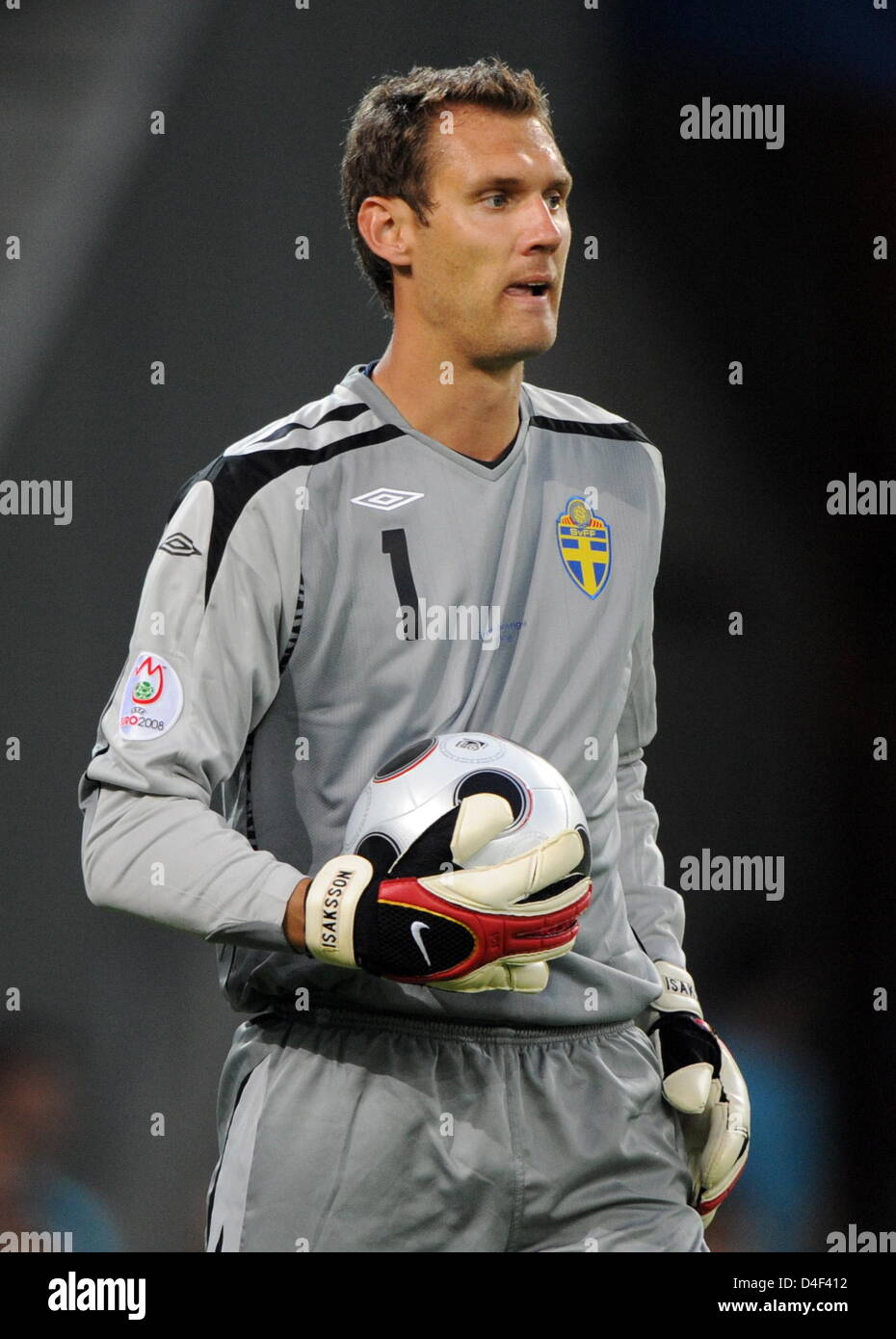 Goalkeeper Andreas Isakson of Sweden during the EURO 2008 preliminary round group D match in Wals-Siezenheim Stadium, - Stock Image