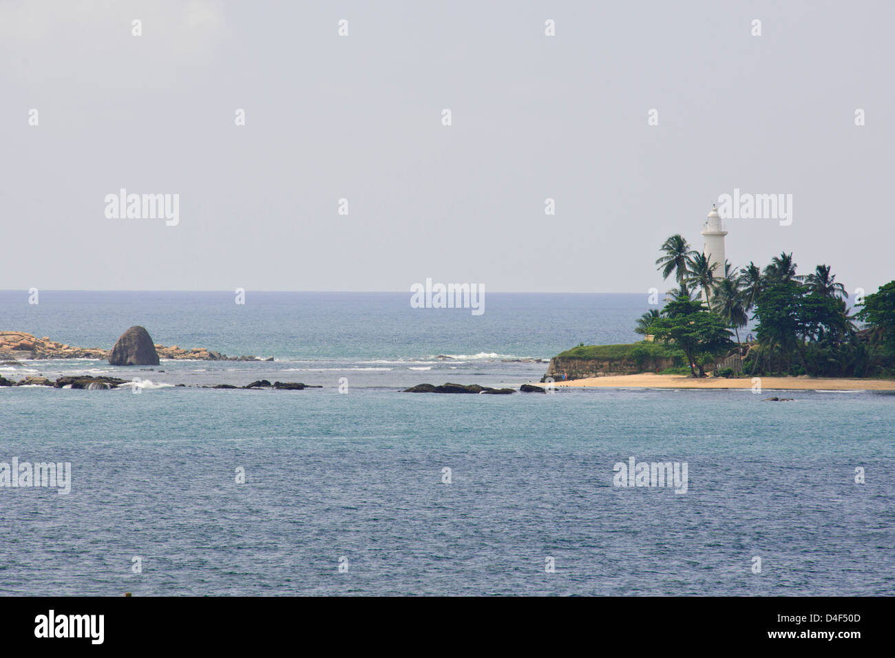 Lighthouse Beach,Harbour,Entrance,On 26 December 2004 the city was devastated by the massive Boxing Day Tsunami,Galle,Sri - Stock Image
