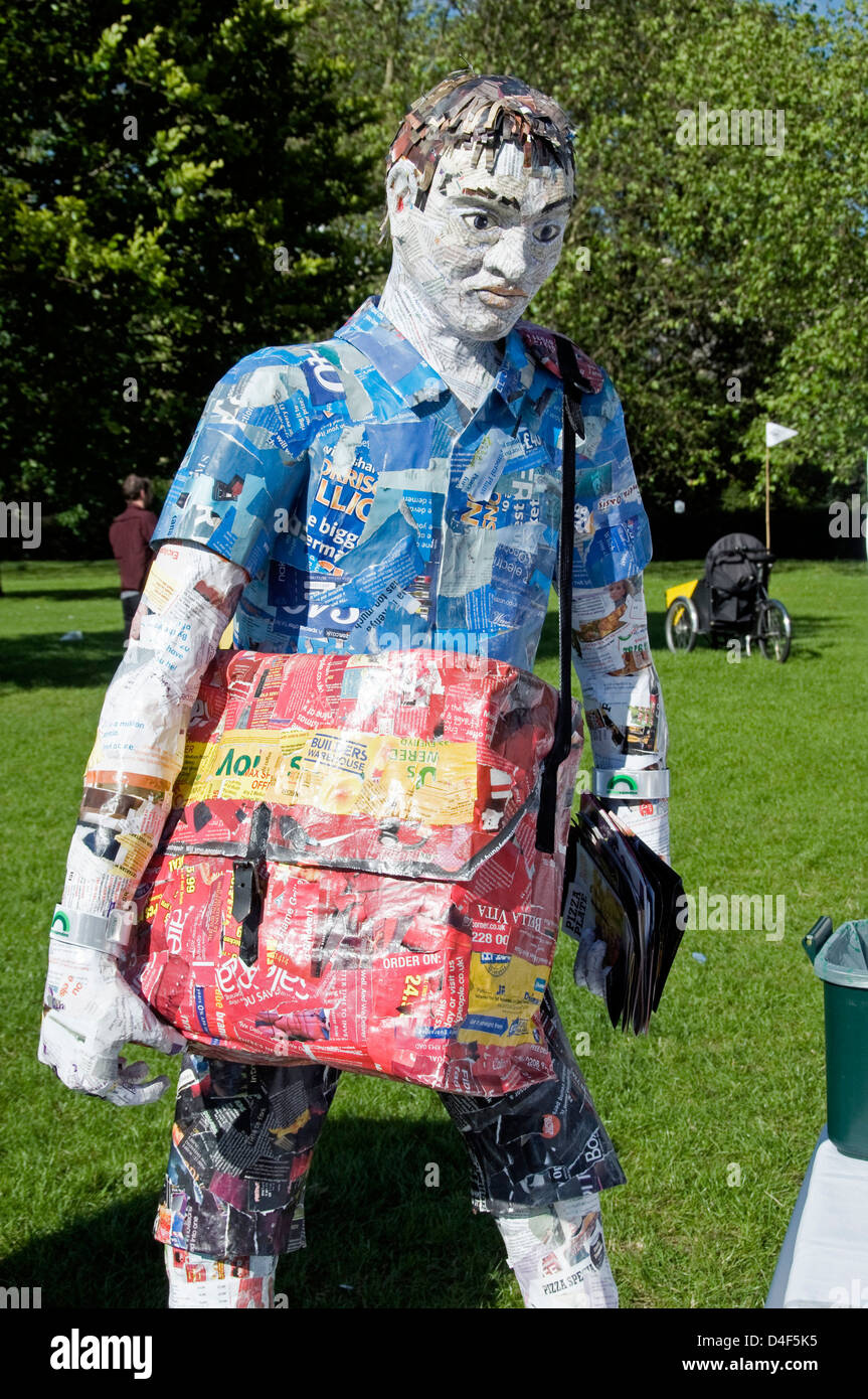 Papier-mâché or paper mache man made from recycled paper, Camden now London Green Fair, England UK - Stock Image