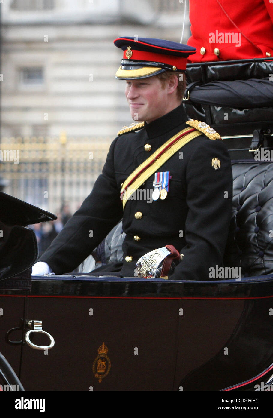 Prince Harry is pictured at the 2008 Trooping the Colour parade in London, United Kingdom, 14 June 2008. The parade Stock Photo