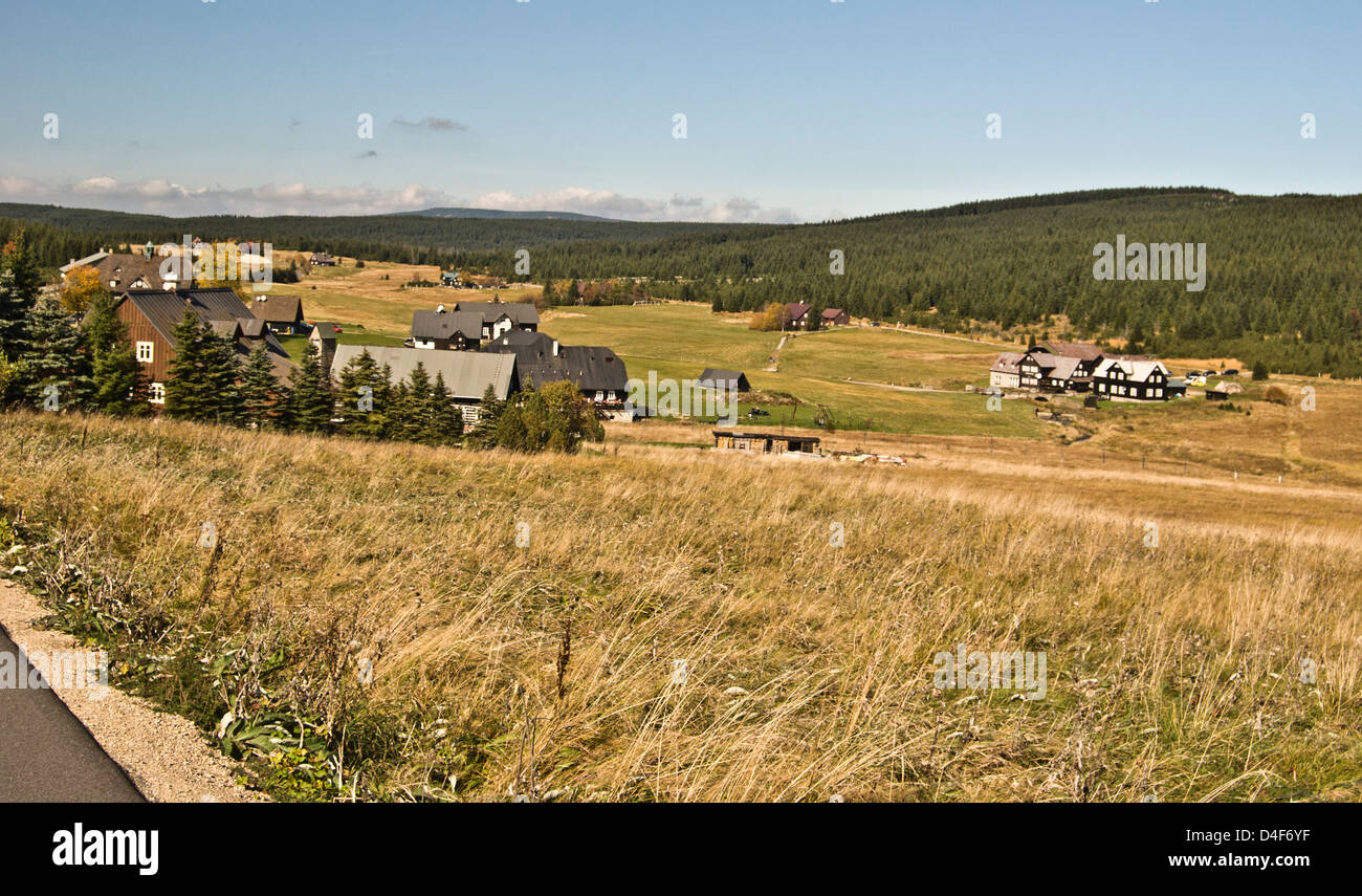 Jizerka hamplets on Jizerske hory mountains in Northern Bohemia near czech-polish borders - Stock Image