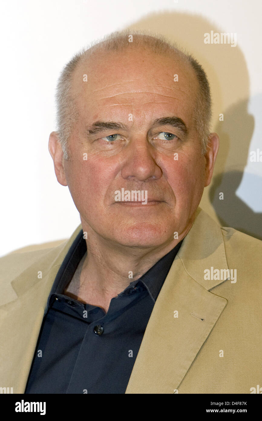 Actor Hanns Zischler poses at a photocall for the film 'Hilde' at Schillertheater in Berlin, Germany, 18 - Stock Image