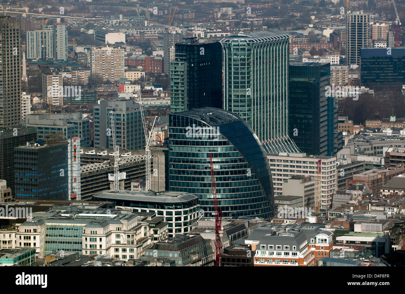 Aerial view of  Citypoint, Moor House and their surrounding area. - Stock Image