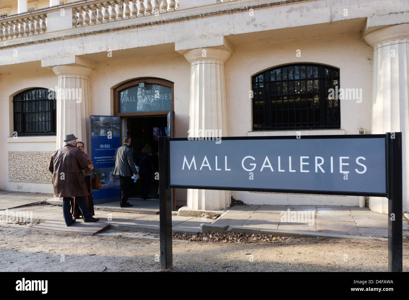 Sign outside the Mall Galleries, London. - Stock Image