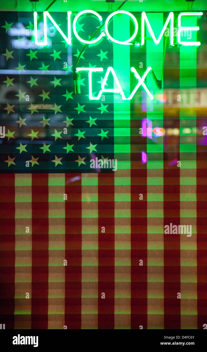 income tax neon sign - Stock Image
