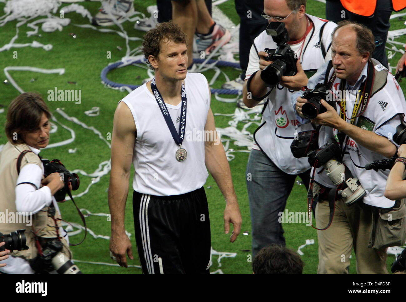 Goalkeeper Jens Lehmann of Germany leaves the pitch after Spain defeated Germany 1-0 during the UEFA EURO 2008 final - Stock Image