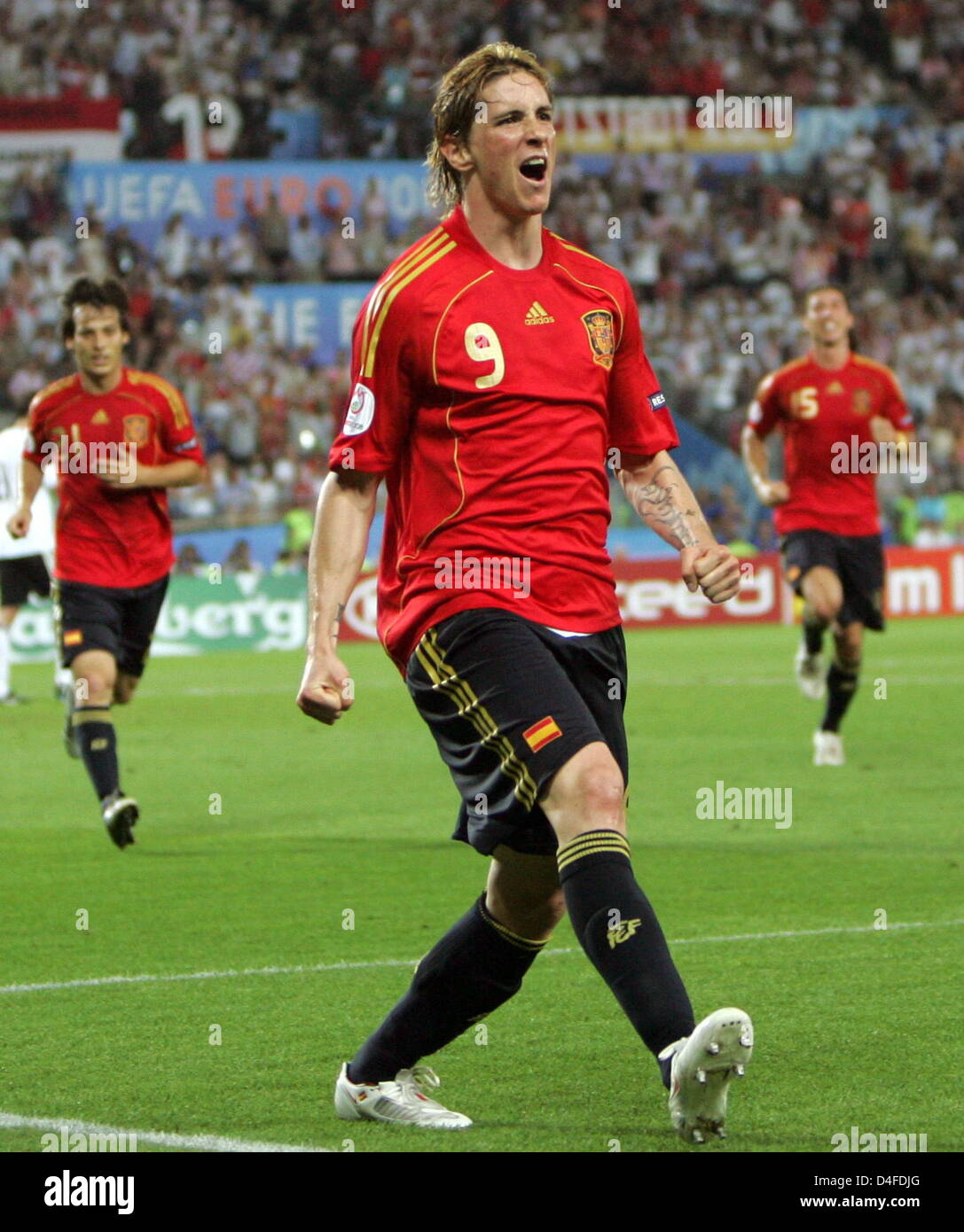 Fernando Torres of Spain celebrates after scoring the 1-0 lead during the UEFA EURO 2008 final match between Germany - Stock Image