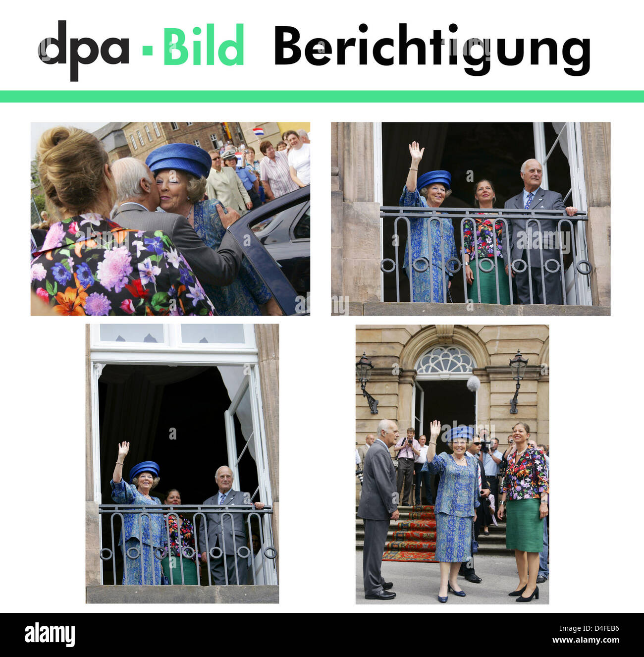 Dear customers, the caption of the photos pictured above on the visit of Queen Beatrix contained some errors. A - Stock Image