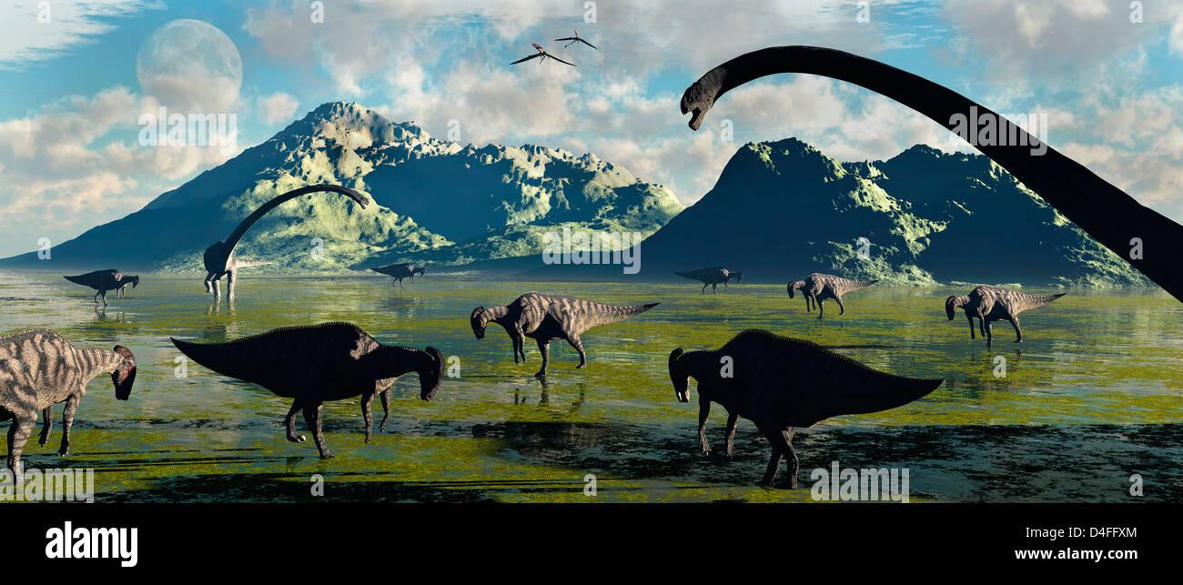 Prehistoric Feeding Time. Stock Photo