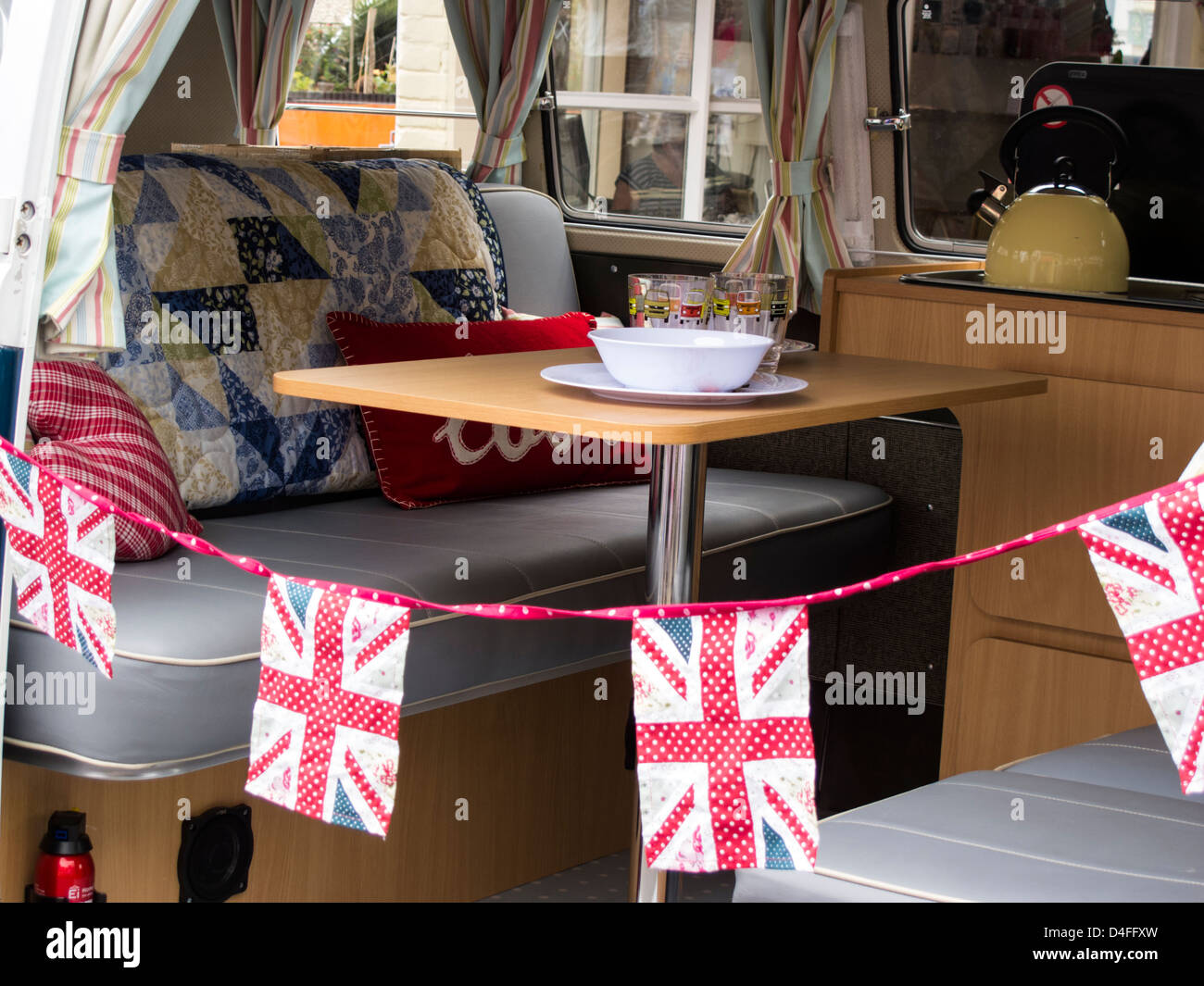 interior of vw camper van with table and seats with union jack stock rh alamy com van with table uk van with tail lift