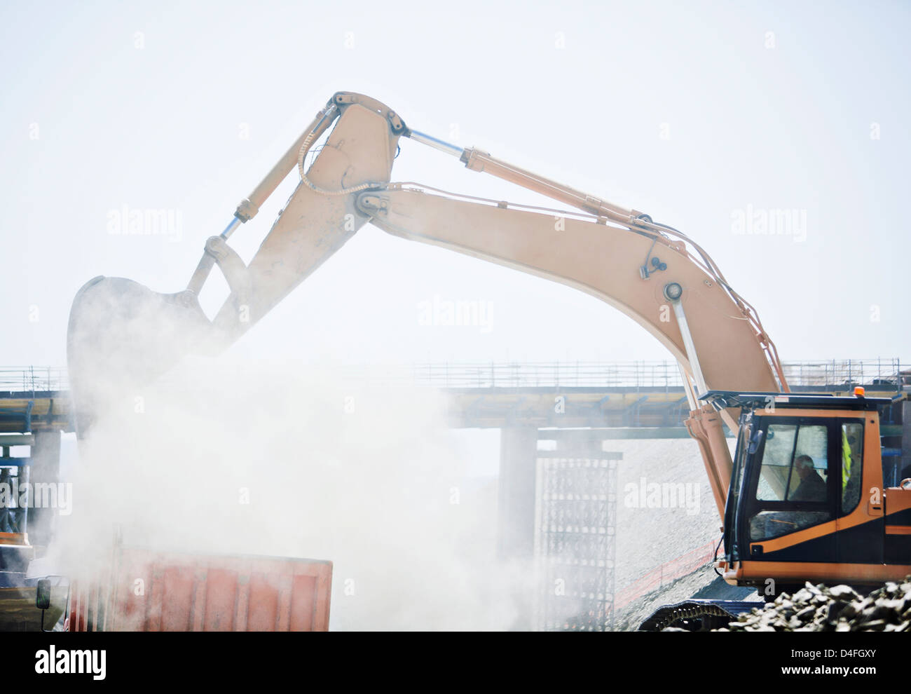 Digger working on site - Stock Image