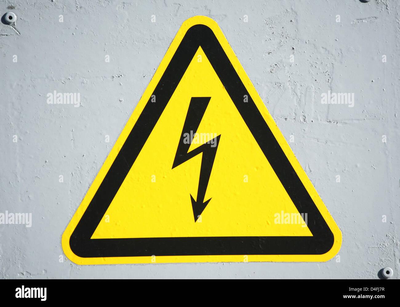 A Sign Symbolising Attention High Voltage Captured In Frankfurt