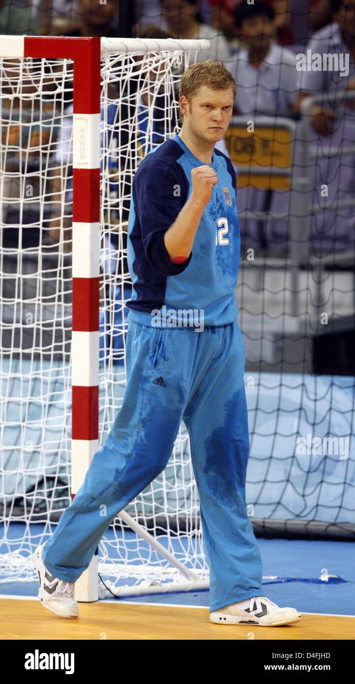 Goalkeeper Johannes Bitter of Germany reacts during the menÒs handball preliminary round group B match 4 between - Stock Image