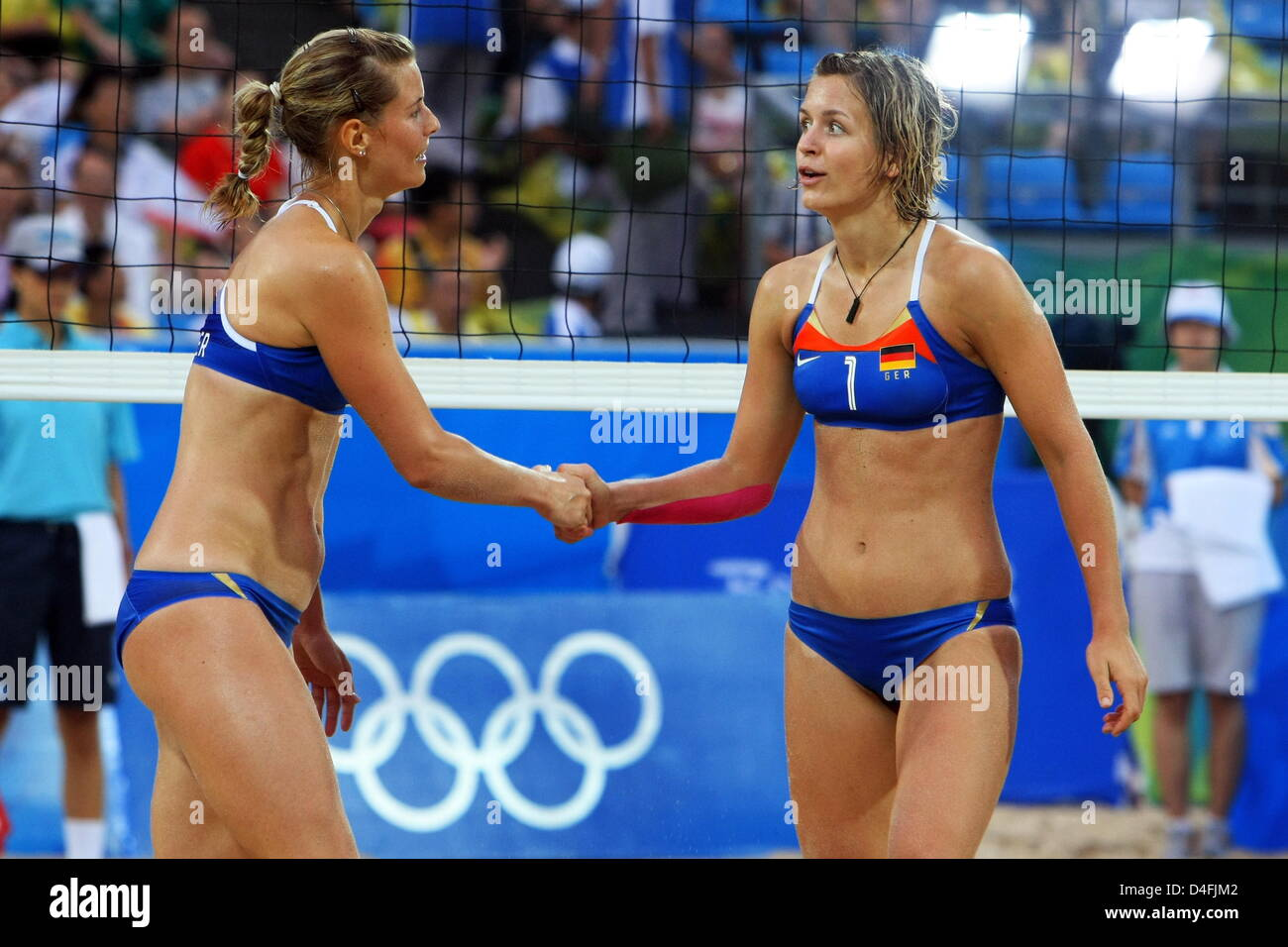 German Sara Goller L And Laura Ludwig React During The Womens Preliminary Beach Volleyball