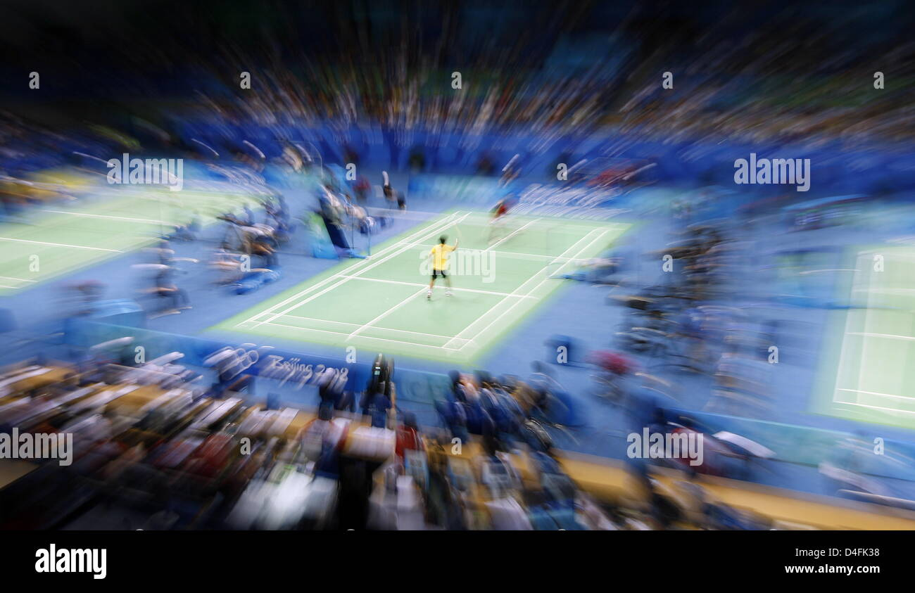 A general view during the menÒs badminton singles round of 32 competition in the Beijing University of Technology - Stock Image