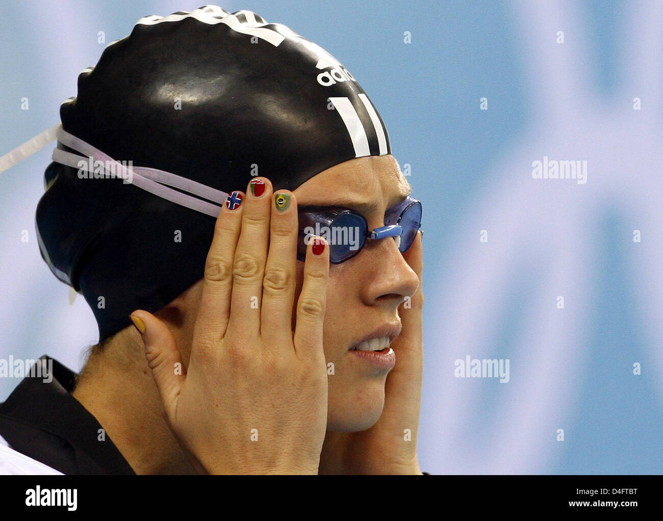 Lena Schoeneborn of Germany concentrates prior to the Women's Swimming 200m Freestyle in the Yingdong Natatorium - Stock Image
