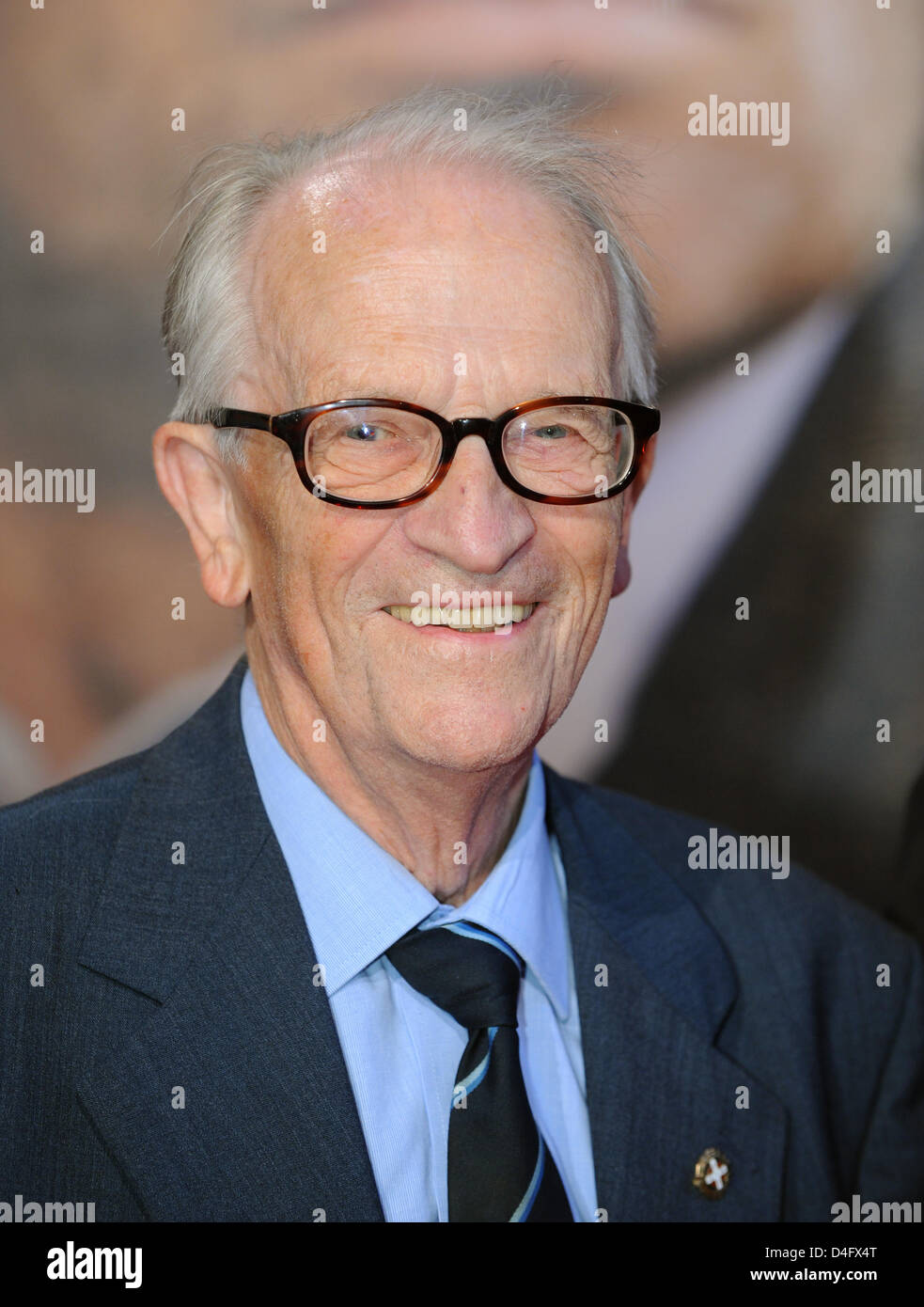 Danish resistance fighter and contemporary witness Gunnar Dyrberg smiles during the premiere of the film 'Flame - Stock Image