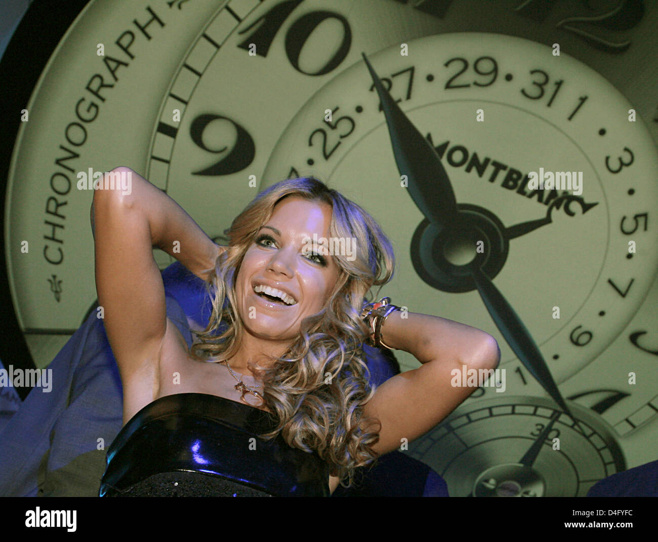 Model Sylvie van der Vaart poses during a Montblanc watch presentation at KaDeWe in Berlin, Germany, 04 September Stock Photo