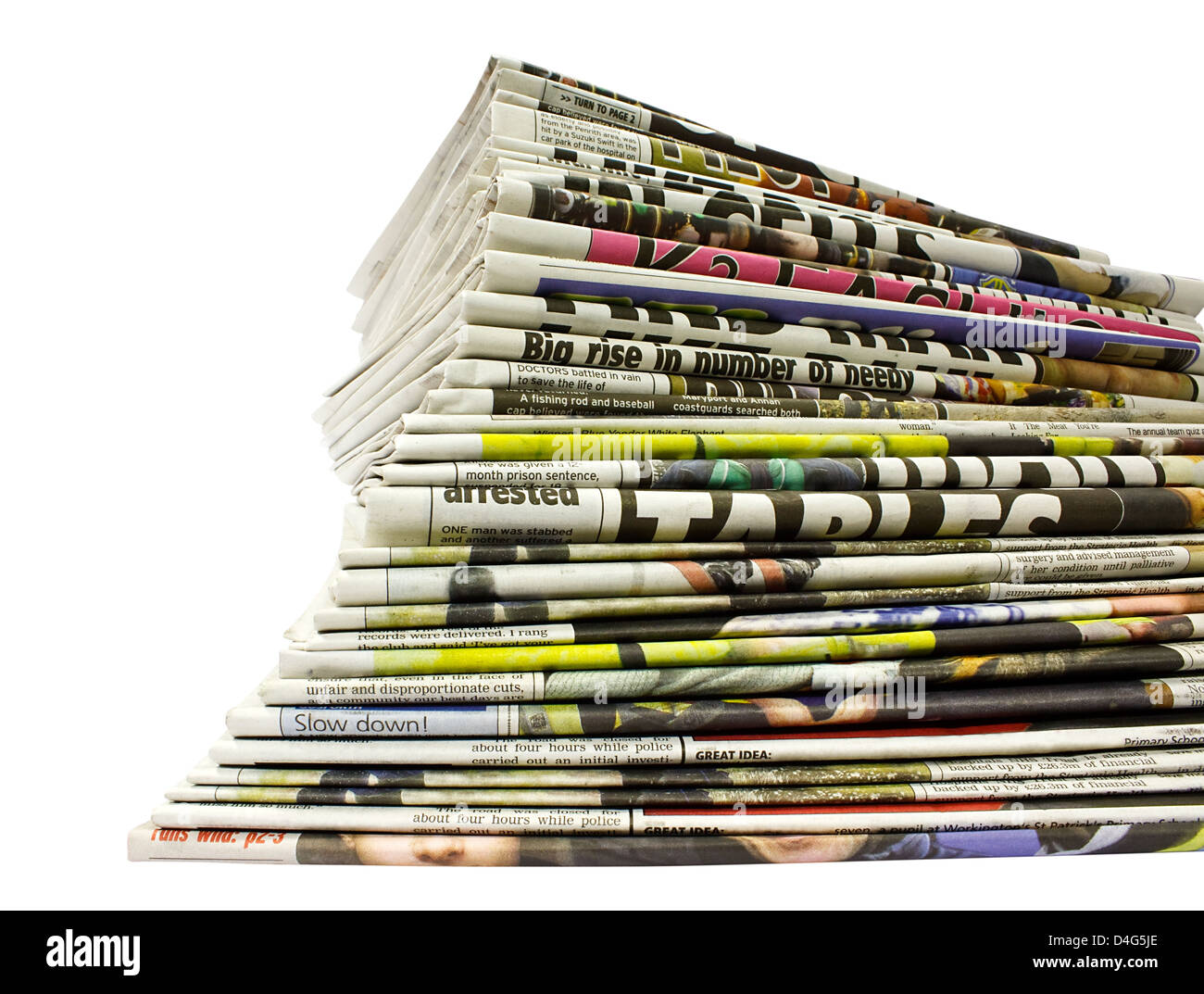 collection of different color newspapers stacked in pile isolated on white - Stock Image