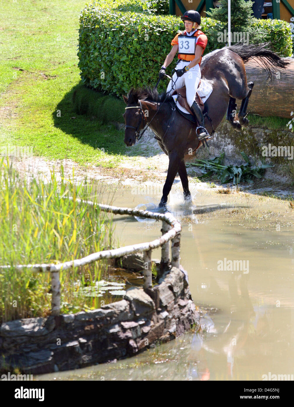finest selection ca327 6d836 German equestrian Frank Ostholt and his horse  Air Jordan 2  take an  obstacle in the Eventing competition at the CHIO World Equestrian Festival  in Aachen, ...