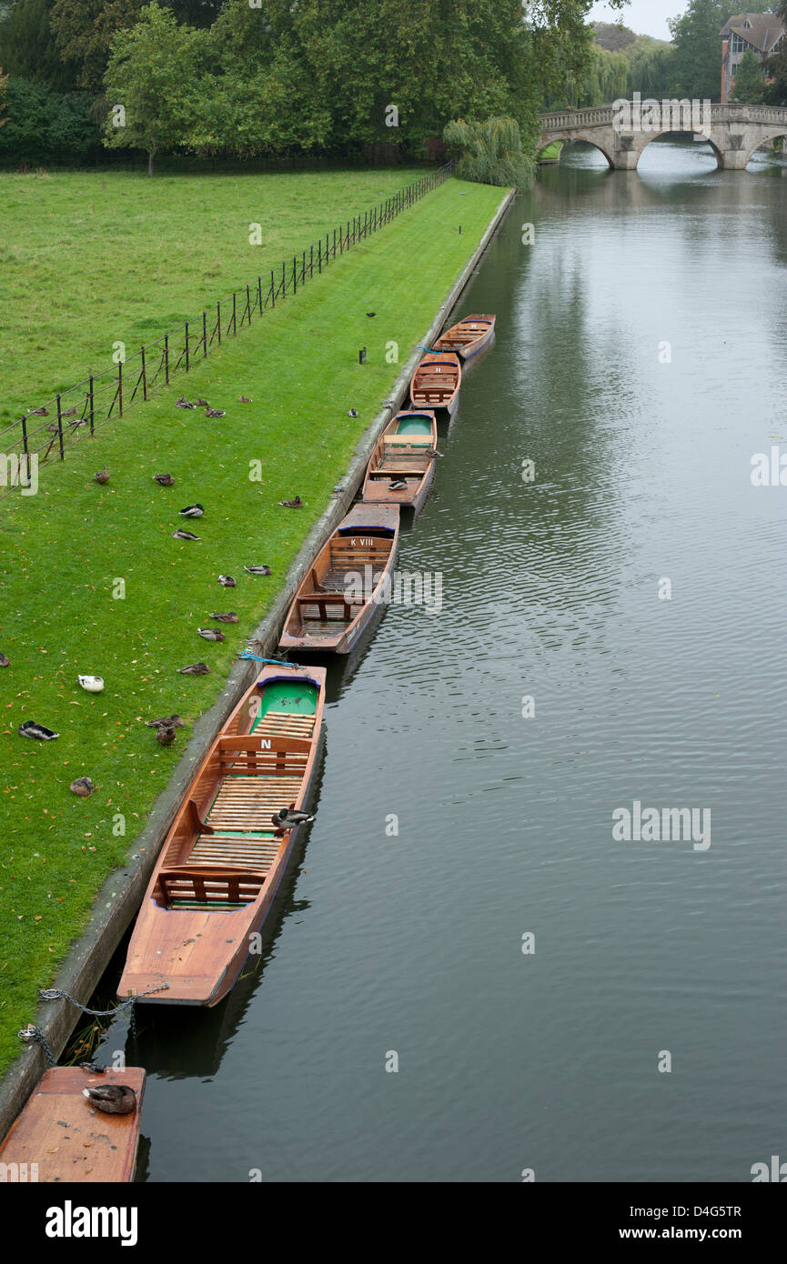 Punting boats on the river in Cambridge - Stock Image