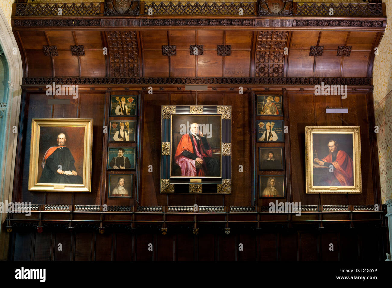 Interior in one of the college common rooms of Peterhouse, Cambridge - Stock Image